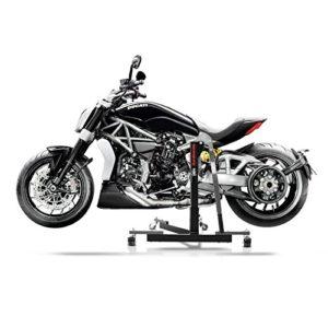 Une Ducati Diavel sur une béquille centrale d'atelier Constands